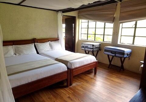 ウガンダ マホガニースプリングスホテル ベッドルーム