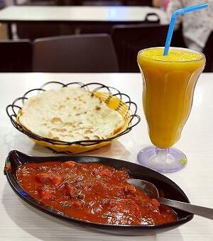 ムスタファセンター Ma Raj レストラン バターチキン マンゴージュース インド料理