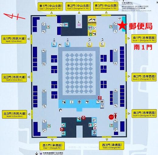台湾 台北駅 郵便局 場所 地図 南1門