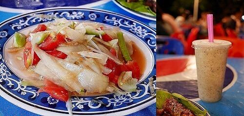 ラオス ビエンチャン 屋台レストラン パパイヤサラダ ミックスジュース
