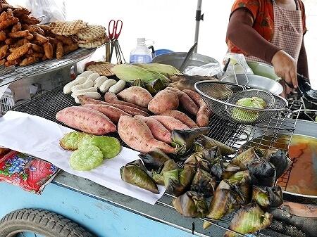 ラオス ビエンチャン 屋台 焼きバナナ 揚げバナナ