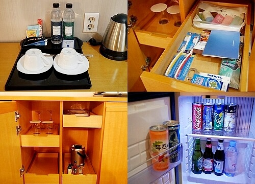 ノボテルアンバサダー大邱 ホテル テグ スーペリア 部屋 ポット 冷蔵庫 歯ブラシ