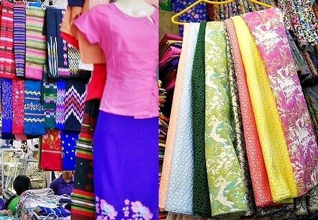 ミャンマー ヤンゴン ボージョーアウンサンマーケット Bogyoke Aung San Market 布 ロンジー 生地
