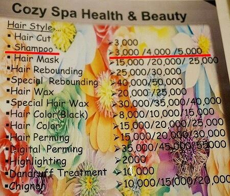 ミャンマー ヤンゴン シャンプー 美容院 ヘアサロン Cozy Beauty Salon メニュー