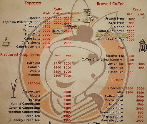 ミャンマー ヤンゴン カフェ Cafe Genius メニュー