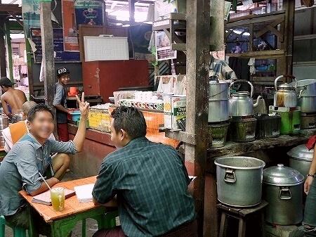 ミャンマー ヤンゴン インセイン市場 食べ物屋