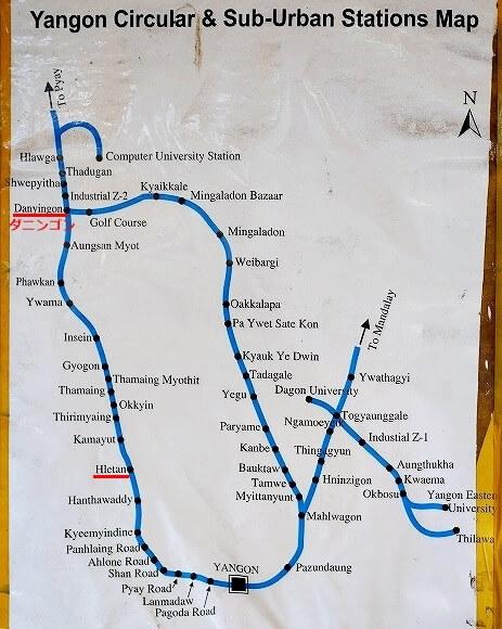 ミャンマー ヤンゴン 環状線 路線図 Stations Map