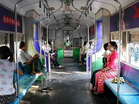 ミャンマー ヤンゴン 鉄道 列車 車内