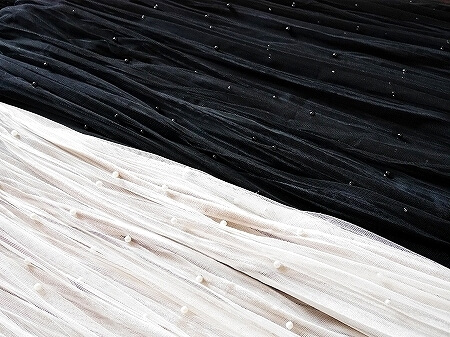 台湾 台北 五分埔服飾広場 五分埔商圏 問屋街 OJOC パール付きチュールスカート