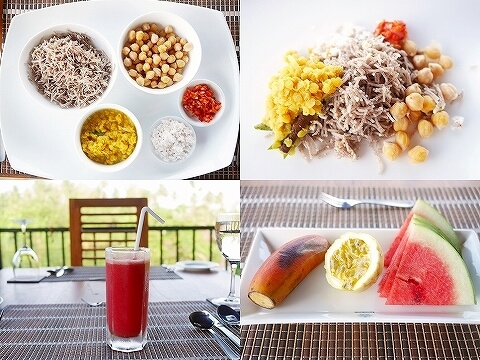スリランカ カルナカララ・アーユルヴェーダ・スパ&リゾート 滞在記 食事 朝食 karunakarala