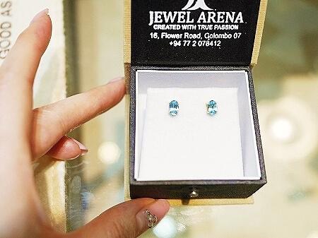 スリランカ コロンボ 宝石店 ピアス JEWEL ARENA ブルートパーズ 一粒石ピアス