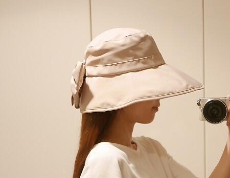 GOODAY ツバ広女優帽 ロフト SHF サンハーティネス香産 折りたたみ UVカット リボン 着画