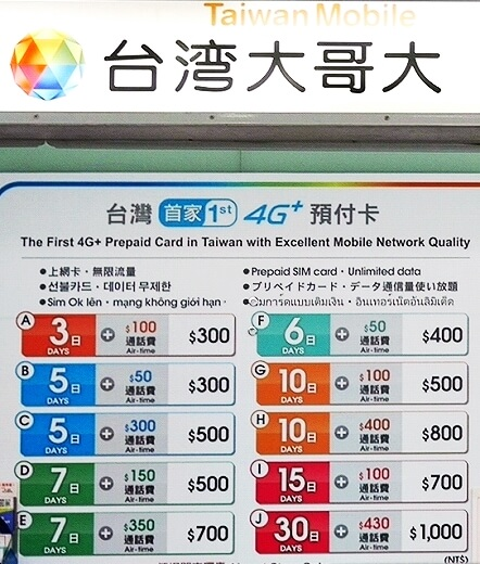 台湾 台北 桃園空港 第1ターミナル SIMカード 売り場 場所 料金 台湾大哥大(台湾モバイル)