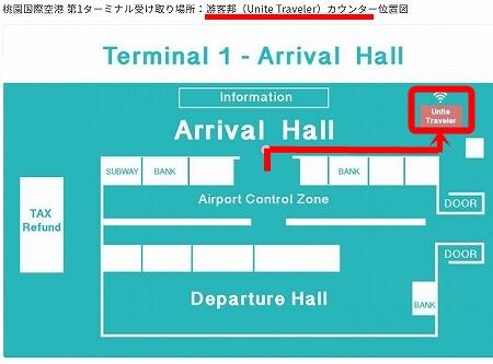 KKday ポケットwifi Wi-Fiルーターレンタル 受け取り場所 桃園空港第1ターミナル