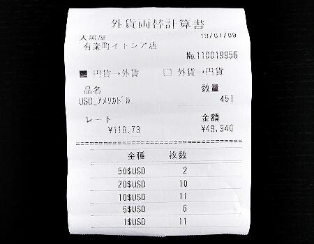 ドル 両替 おすすめ 両替所 換金 大黒屋 有楽町 イトシア レート レシート