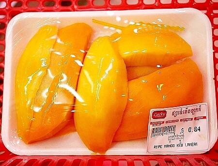 シェムリアップ ラッキースーパーマーケット カンボジア カットフルーツ マンゴー keo lameat Keo Romeat ケオロミート種
