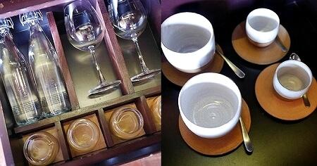 シェムリアップ プーム バイタン リゾート  Phum Baitang Resort ホテル 田園 宿泊記 部屋 テラスヴィラ 食器