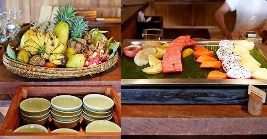 シェムリアップ プーム バイタン リゾート Phum Baitang Resort ホテル 田園 宿泊記 プール BAY PHSAR レストラン 食事 朝食 フルーツ 果物