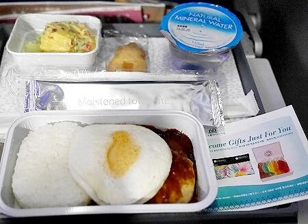 ハワイアン航空搭乗記 成田-ホノルル HA822 機内食 ロコモコ