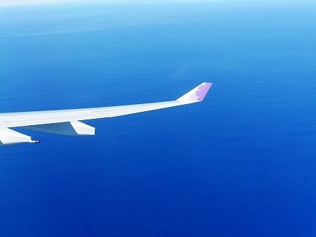 ハワイアン航空搭乗記 成田-ホノルル HA822 景色 眺め 海