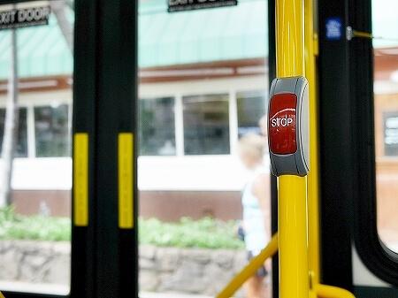 ハワイ 交通手段 移動手段 ザ・バス The Bus  乗り方 料金 降り方 降車方法 乗車方法 ストップボタン