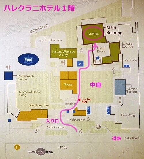 ハワイ ハレクラニホテル オーキッズ オーキッド Orchids 場所 行き方 地図 フロアマップ