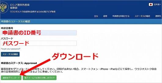 ウラジオストク 電子ビザ 申請方法 E-visa Eビザ オンライン申請 ネット申請 取得方法 ロシア 記入例