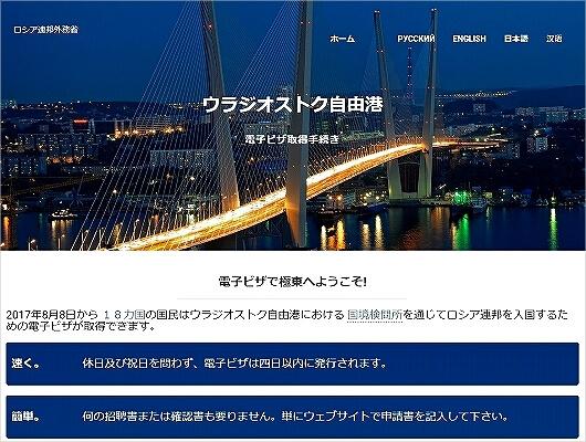 ウラジオストク 電子ビザ 申請方法 E-visa Eビザ オンライン申請 ネット申請 取得方法 ロシア