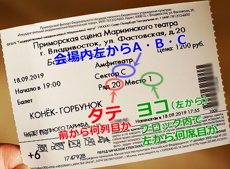 ウラジオストク マリインスキー劇場 マリインスキー沿海州劇場 マリンスキー劇場 バレエ鑑賞 席の見つけ方 チケットの見方