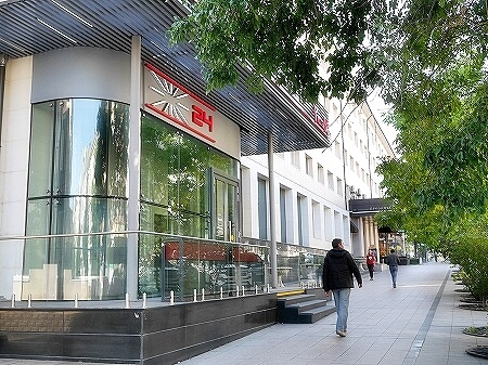 ウラジオストク Pizza M Cafe プリモリエホテル内のレストラン カフェ・ピッツァM カフェ・ピツツァ=ム 入り口 外観