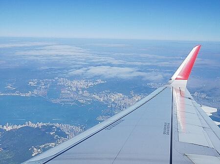 香港エクスプレス搭乗記 羽田-香港 UO625 UO624 LCC 香港上空 景色