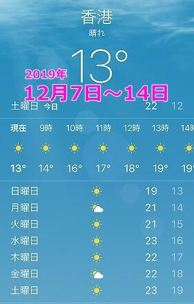 12月上旬の香港の気候 服装 気温 中旬
